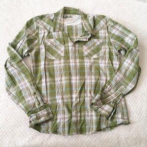 Hollister Button Down Green Plaid Shirt